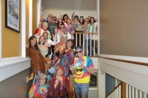 Staff dressed up for 70's day